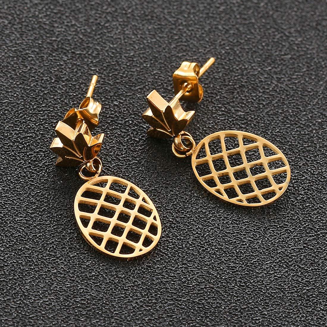 Earrings+Bracelets+Necklaces Jewelry Set SKQIR Womens Stainless Steel Pineapple Jewelry Sets
