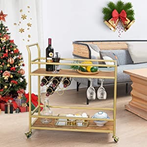 HAWOO Gold Bar Cart,Mini Bars for Home with 2 Shelves, Serving Wine Cart with Handle Rack for Kitchen,Party,Dining Room,Living Room, Gold