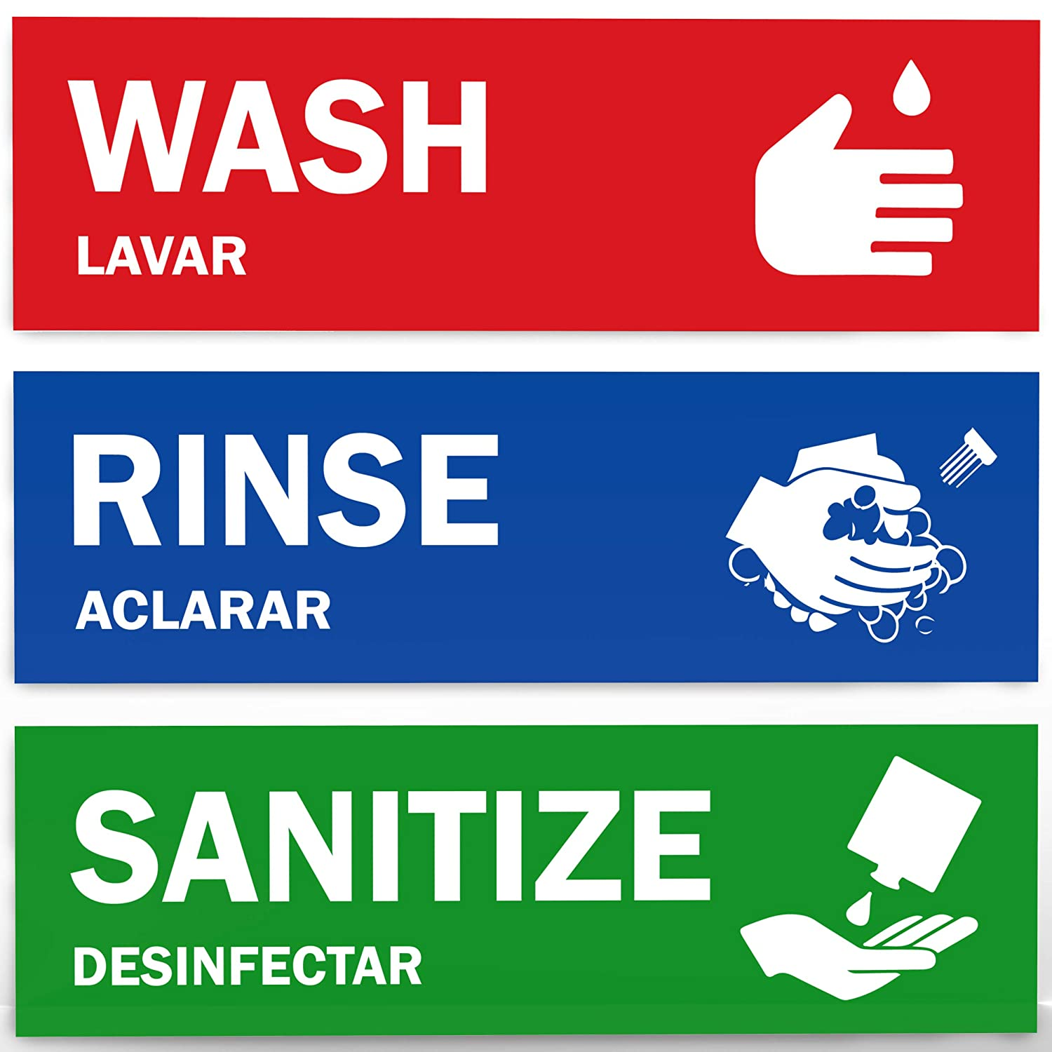 "Wash, Rinse, Sanitize Sink Labels - Ideal for 3 Compartment Sink - 2.75"" x 9"" - Perfect Sticker Signs for Restaurants, Commercial Kitchens, Food Trucks, Bussing Stations, Dishwashing or Wash Station"