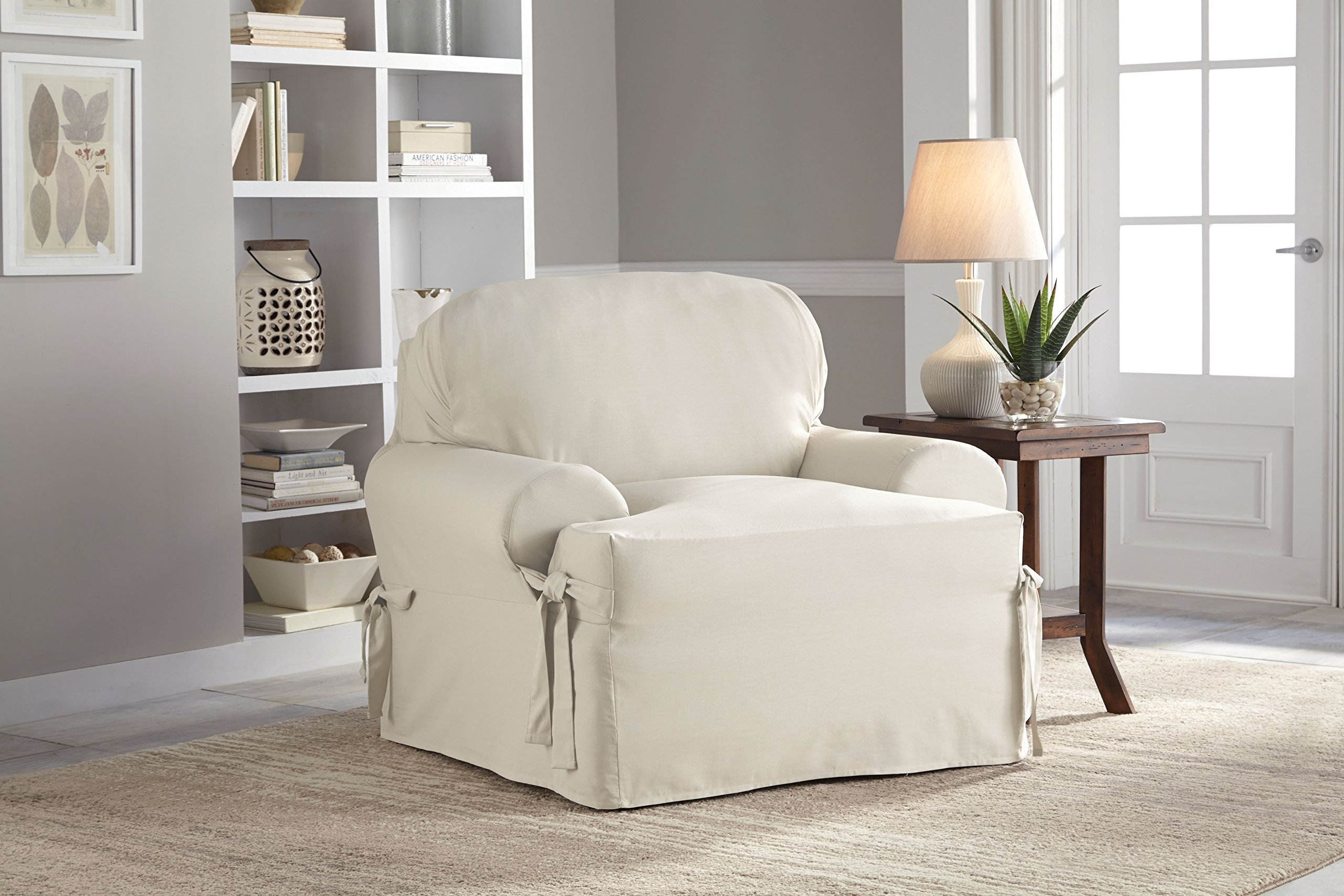 Serta Relaxed Fit Duck Slipcover T-Cushion Chair & Ottoman Set, Natural, 2 Piece by Serta