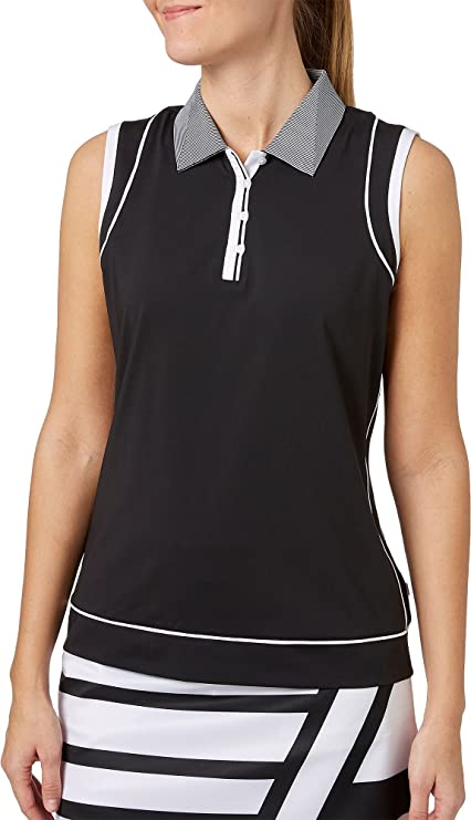 b1fe47ab6b8795 Lady Hagen Women s Twilight Collection Faux Racerback Sleeveless Golf Polo  (Black
