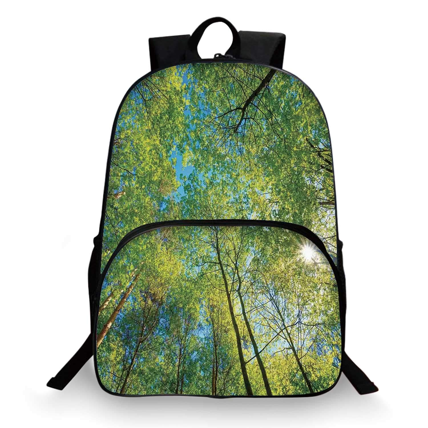 Forest Home Decor Various Schoolbag,Evergreen Back Nature Area Mother Earth Lime Trunk Mangrove Flora Willow Decor for student,11''Lx6''Wx15''H by C COABALLA