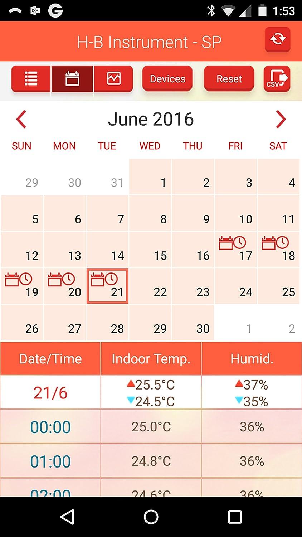 B60911-0100 H-B DURAC Bluetooth Thermometer with 30-Day Data Logging; -10//50C PROPRIETARY 14//122F