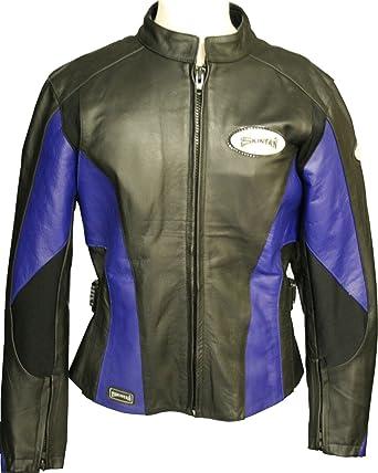 Ladies Black   Blue 100% Genuine Real Leather Motorcycle Womens Motorbike  Armoured Cowhide Biker Jacket Coat by Skintan - Brand New Size 18 XXL  ... 7d83dc41281ab