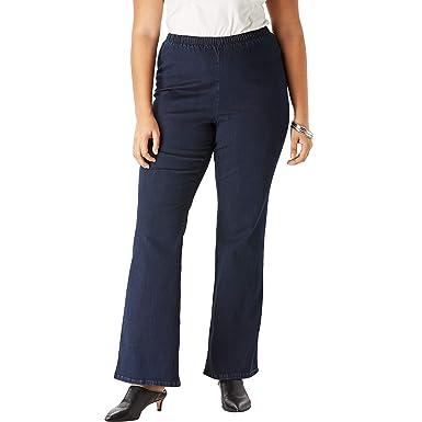 0e65ea590 Roamans Women's Plus Size Pull-On Stretch Denim Bootcut Jean - Indigo Wash,  ...