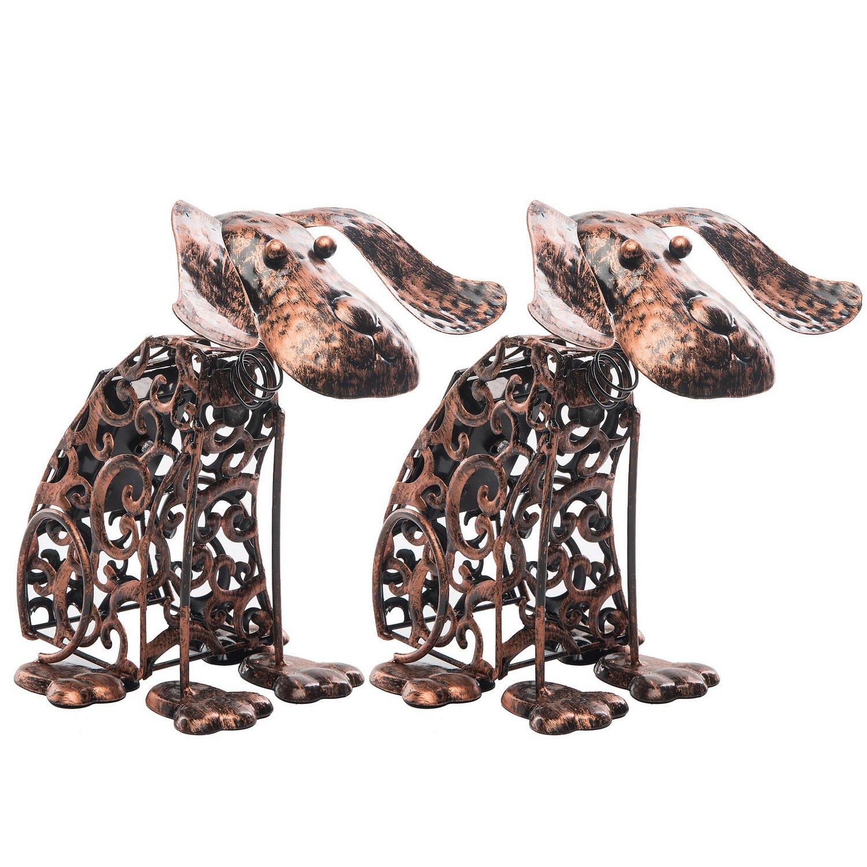 Solar Light Outdoor/Garden Decorative Bronze Metal Silhouette Animal- BroGarden Cute Dog (2 Packs) Figurine Decor