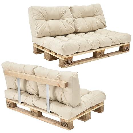 en.casa] Set de cojines para sofá-palé [beige] con europalé ...