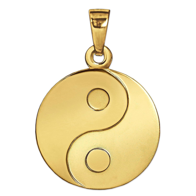 Pendentif yin yang Clever Schmuck en or 333 véritable, 8 carats, mat et brillant, diamètre 16mm ahg500_333