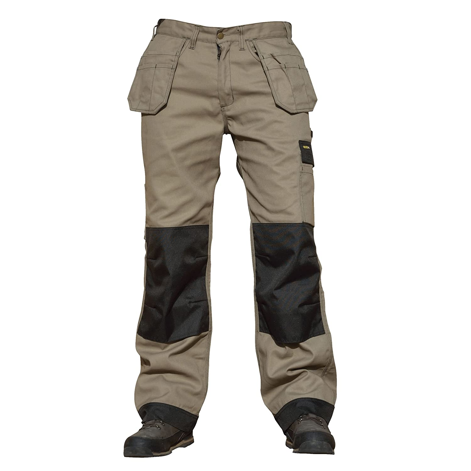 GS Workwear 32' Leg Heavy Duty Triple Stitched Tough Work Cargo Trousers with Knee Pad Pockets GL010 Portwest