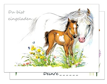15 Einladungskarten Kindergeburtstag Pferde / Pferd Und Fohlen  Geburtstagseinladungen Einladungen Geburtstag Kinder Mädchen (Mit Passenden