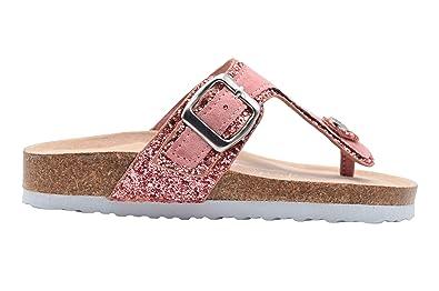 df60843130ae bebe Girls Sandal 1 M US Little Kid Glitter Footbed Slip On Slide Shoe with  Metallic