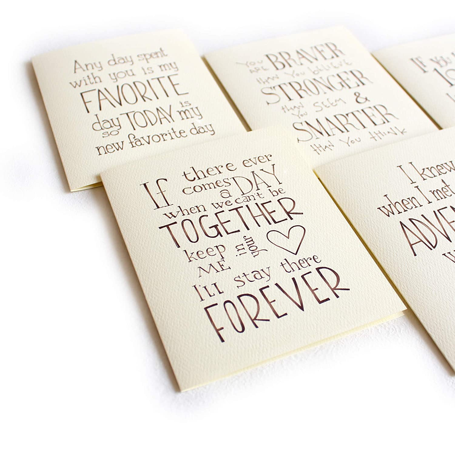 Set of 6 Love and Sweet Quotes Card Handmade Greeting Cards with A2 Natural Envelopes
