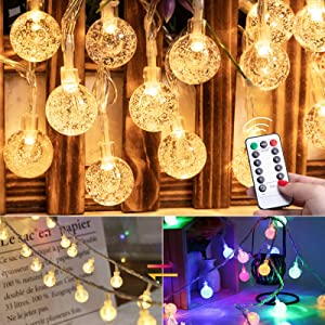 Color Changing Globe String Lights Usb & Plug - 33Ft 100LEDs 8 Modes Fairy Lights with Remote and Timer, Waterproof Mini Crystal Ball Lights for Bedroom Indoor Outdoor Party Birthday Ramadan Decor