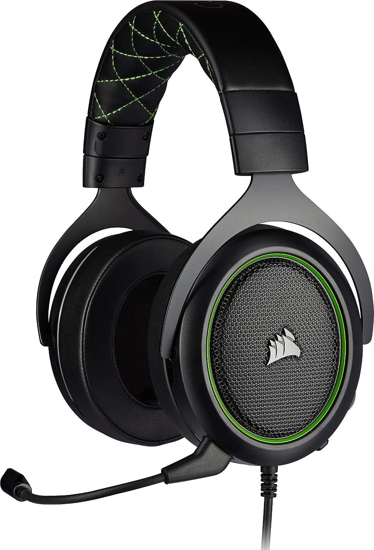 Corsair HS50 Pro Stereo Auriculares para Juegos (Ajustables Espuma viscoelástica Almohadillas, Ancelación del Ruido extraíble micrófono, Compatible con PC, PS4, Xbox One, Switch y móviles), Verde