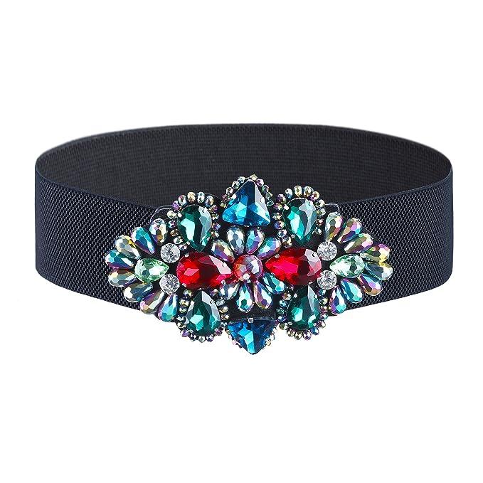 Women Crystal Elastic Waist Belts - Rhinestone Wide Cinch Belt for Dress ( Style 1) 9ff42f5bf94e
