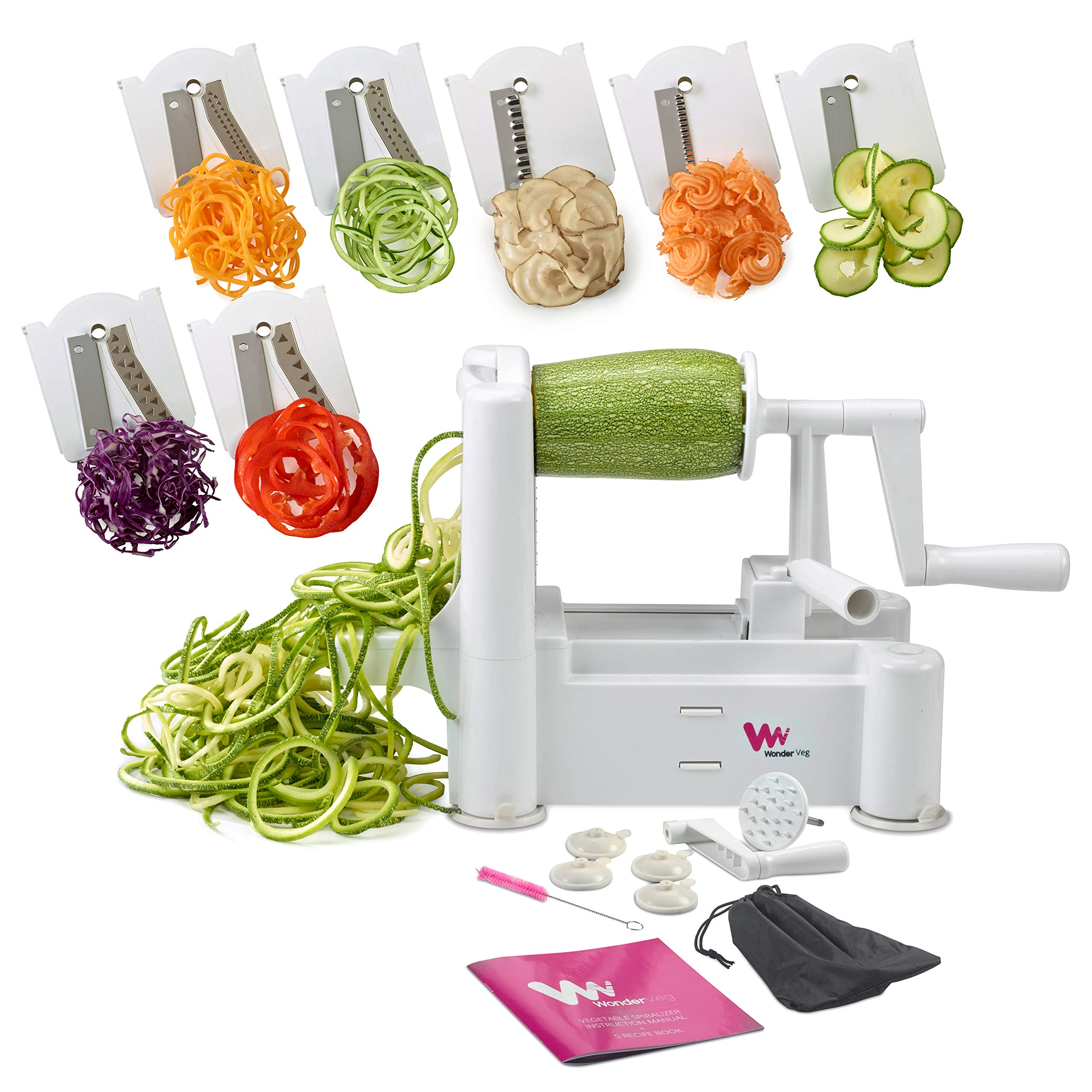 WonderVeg Perfect Vegetable Slicer and Spiralizer with 7-Stainless Steel Blades, White by WonderVeg