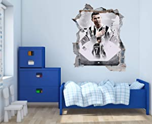 Cristiano R and Stadium Wall Decal - 3D Smashed Wall - Wall Decal for Home Bedroom Hall Decoration (Wide 15