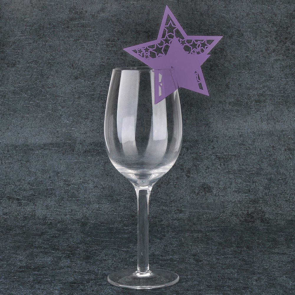 JINGXU 50pcs Wedding Table Name Place Cards Wine Glass Card For Wedding Party Decoration Star Shape