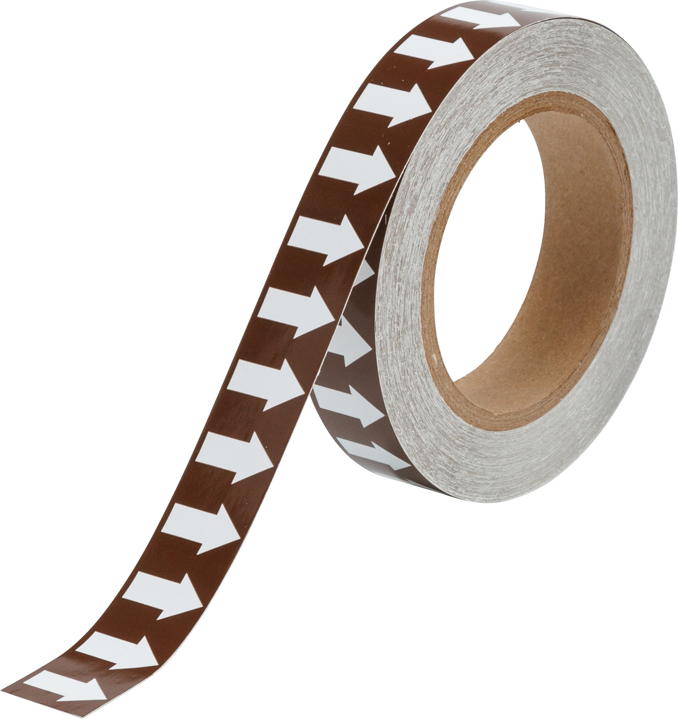 Brady 109937 Food Industry Pipe Banding Tape, B-302, 1'' X 30 Yards, White On Brown Self Sticking Polyester, Legend ''(Arrows)''