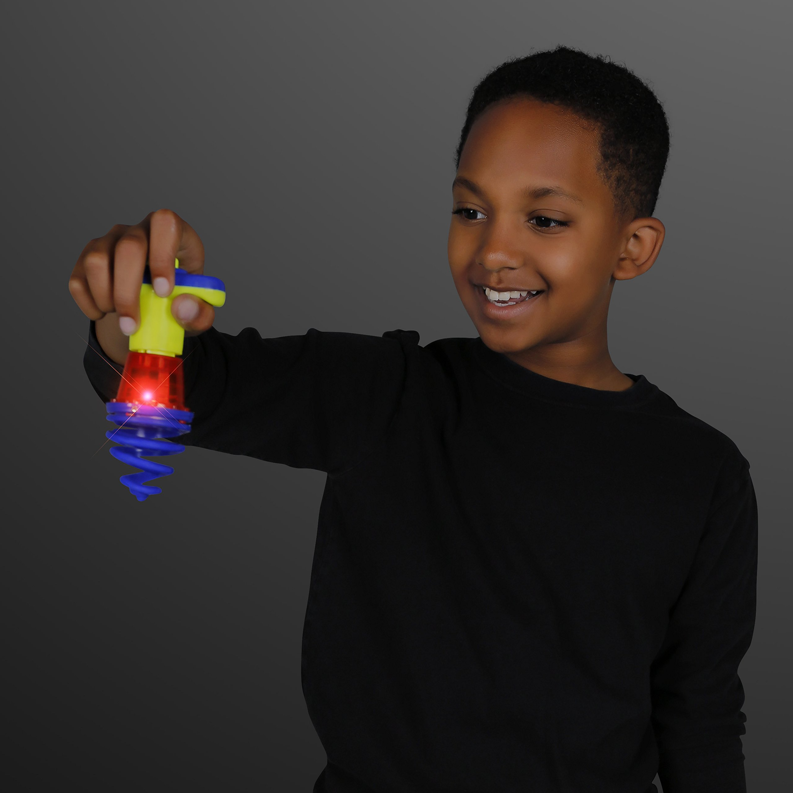 FlashingBlinkyLights Light Up Bounce & Spin Top with Red LED (Set of 12)