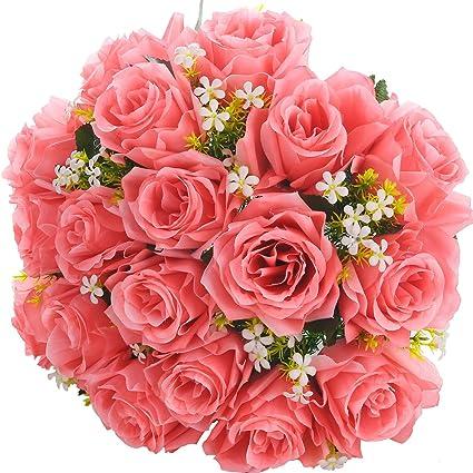 Amazon.com: Silk Rose Bouquet Rose Red 18 Heads SOLEDI Artificial ...