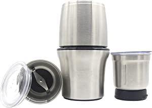Revel CCM103 Stainless Steel Wet and Dry Coffee/Spice/Chutney Grinder with Two Bowls, Silver