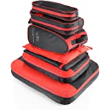 AIZBO 7 Set Waterproof Packing Cubes Travel Luggage Organisers Suitcase Storage Bags-2 Clothing Pouches + 2 Premium Bra Underwear Bag + 1 Digital Accessories Bag + 1 Toiletry Bags+1 Shoes Bag (Black)