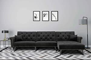 Modern Convertible Velvet Sofa Bed L-Shaped Furniture Sectional Sleeper Couch with Metal Nail Decoration 2 Pillows 3 Angles Adjustable 13 Solid Wood Legs for Living Room (Black)