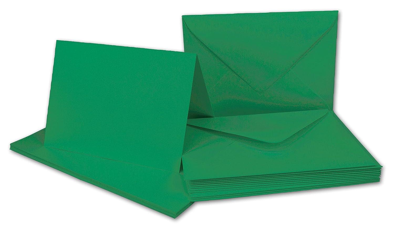 10x Faltkarten Set mit Brief-Umschlägen Tannengrün - DIN A6 / C6-14, 8 x 10, 5 cm   Premium Qualität   FarbenFroh® von Gustav NEUSER®