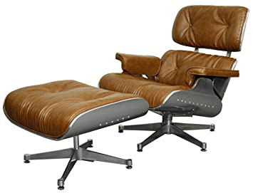 New Pacific Direct Grayson Aviator PU Leather Lounge Chair And  Ottoman,Aluminum Legs,Distressed