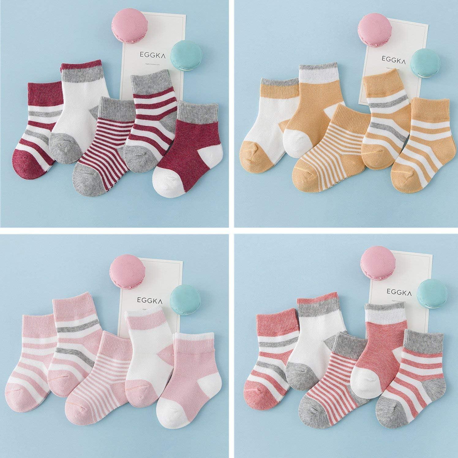 DEBAIJIA Calzini per bambini 5 in 1 Set Calzini per ragazzi in maglia per bimbe Ragazze in cotone elastico colorato