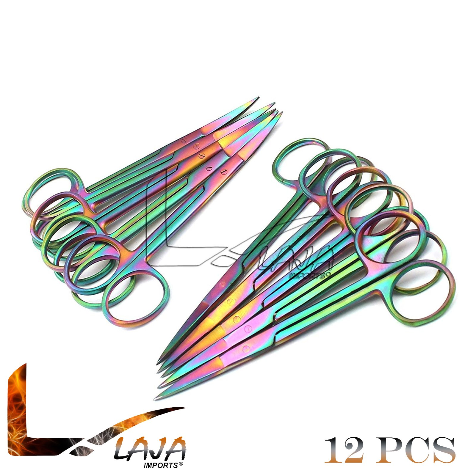 LAJA Imports Set of 12 Multi Titanium Color Rainbow Iris Scissors 4.5'' Straight & Curved Stainless Steel