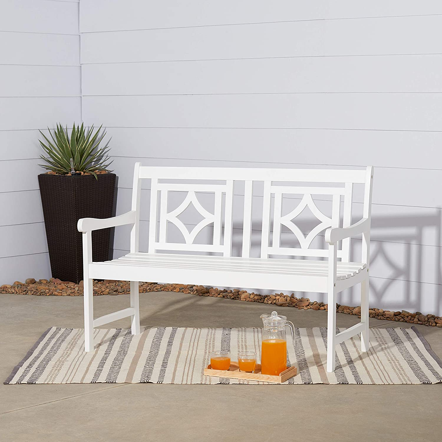 VIFAH V1830 Versailles White-Painted 4Ft Diamond Acacia Wood Bench for 2 Seater in Entry Way, Porch, Balcony, Deck, Garden, Patio, Backyard, Outdoor Seating, 400 lbs Capacity, 48 Inches, 4 Ft