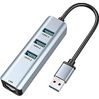USB 3.0 to Ethernet Adapter,ABLEWE 3-Port USB 3.0 Hub with RJ45 10/100/1000 Gigabit Ethernet Adapter Support Windows 10…
