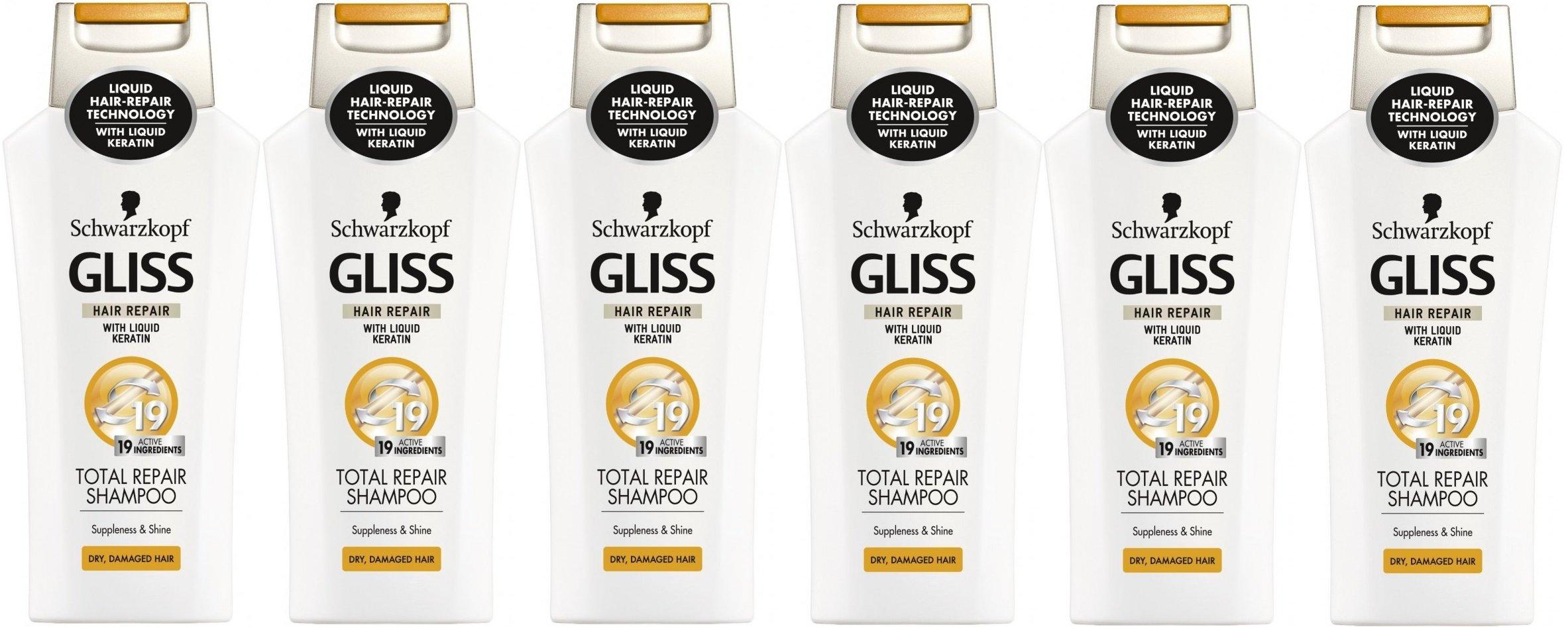 6x Schwarzkopf Gliss Total Repair Shampoo 250ml