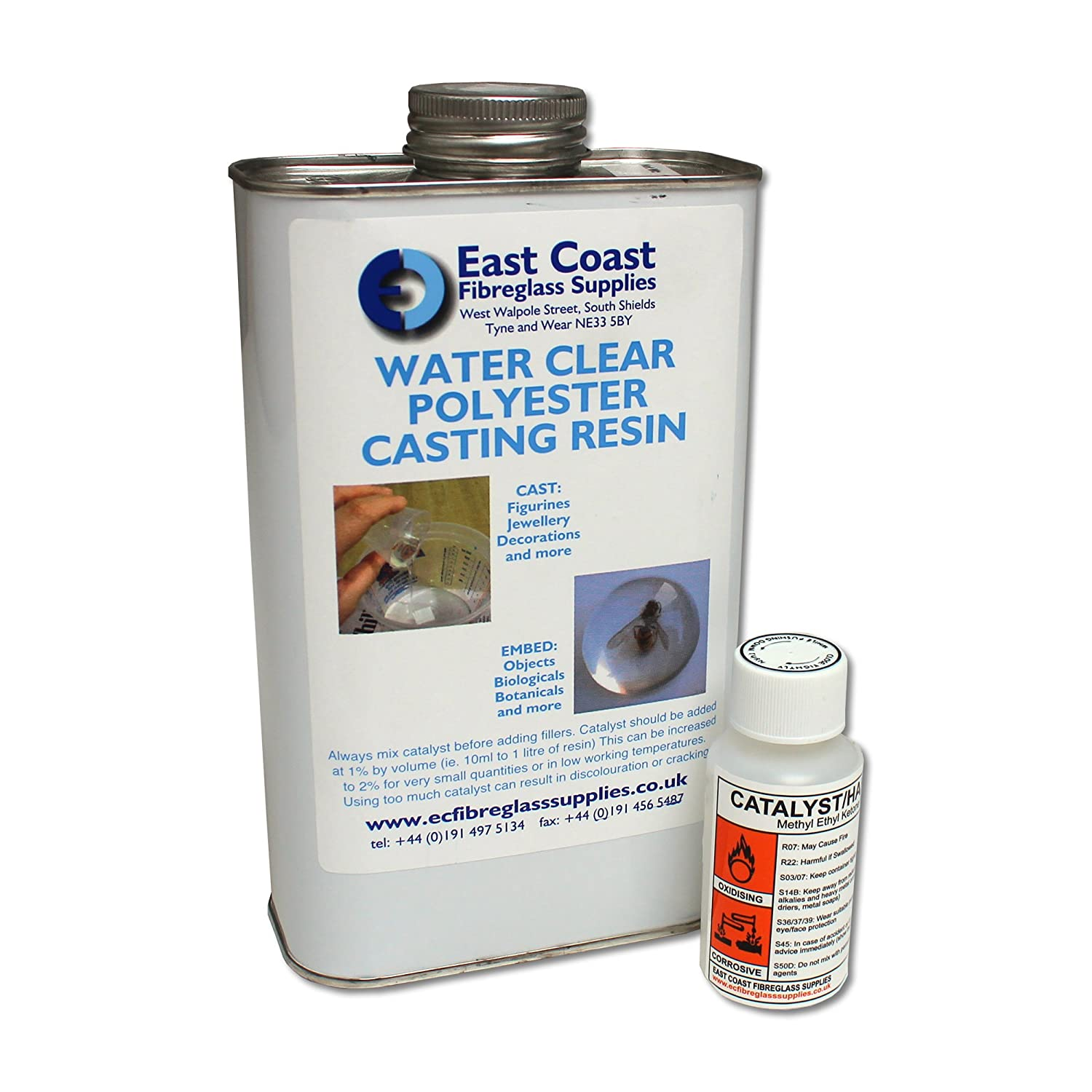 East Coast Water Clear Casting Resin - 1kg with free Catalyst East Coast Fibreglass
