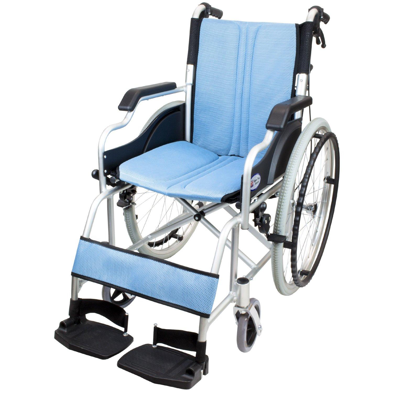 ケアテックジャパン 自走式車椅子 ハピネスコンパクト CA-10SUC (ライトブルー) B079T2DX8N ライトブルー ライトブルー
