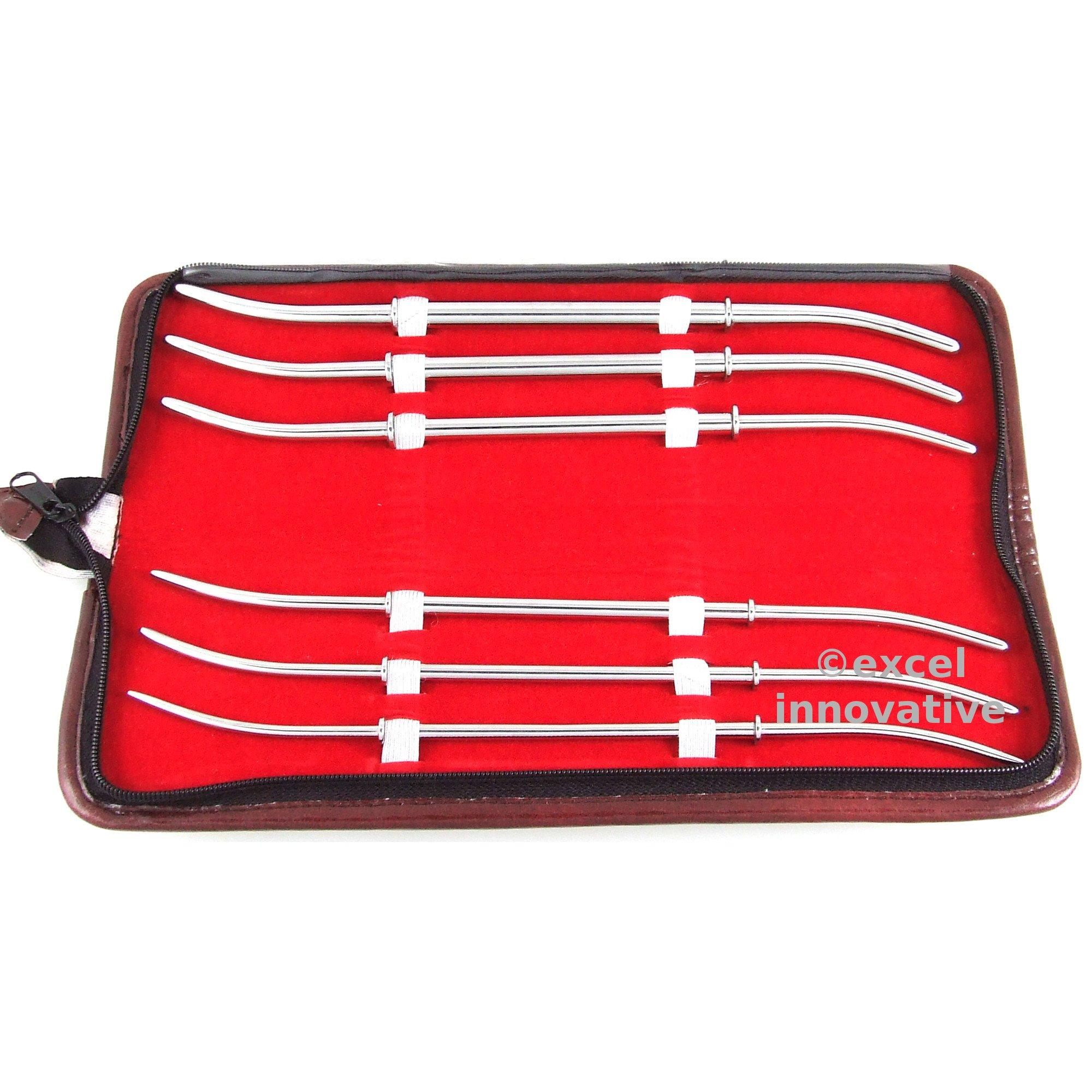 Hank Uterine Dilators Double End Set of 6 with Carrying Case/Roll   Medixplus