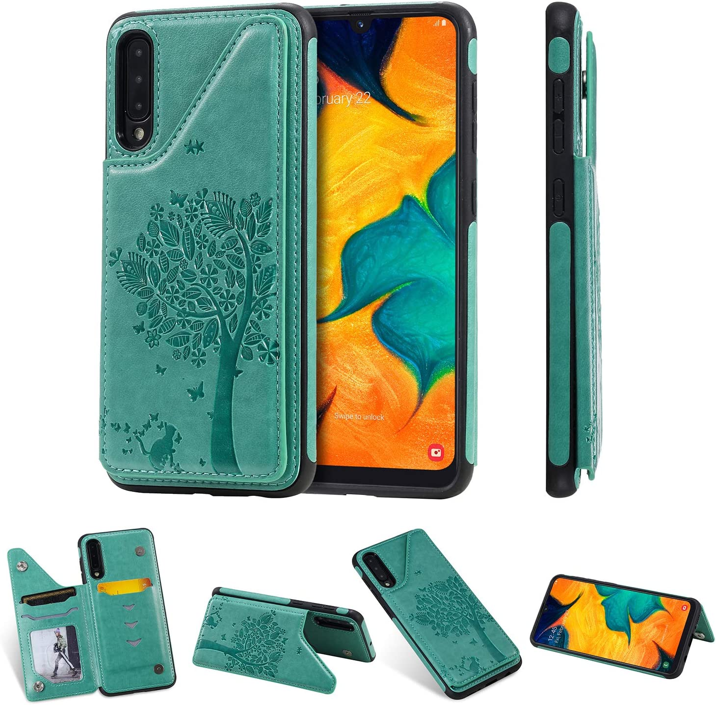 A30S Leather Silicone Lomogo Case for Galaxy A50 LOKTU120083 Blue A50S Shockproof Soft Rubber Bumper Case Non-Slip Back Cover Thin Fit for Samsung Galaxy A50