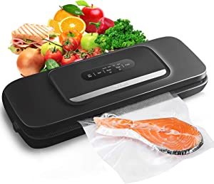 Vacuum Sealer Machine for Food- Automatic Food Sealer for Food Savers w/Starter Kit with 25 Pcs Vacuum Bags,Compact Design with Dry & Moist Food Modes and Led Indicator Lights ,Free Your Hands and Easy to Clean(Black)