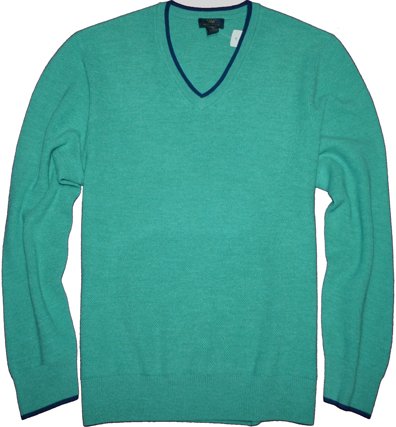 Brooks Brothers 346 Extra Fine Merino Wool Tipped V-Neck Knit Sweater (Teal, 2XL)