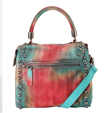 665d99db1527 Amazon.com: Diophy Distressed Genuine Leather Top Handle Zipper ...