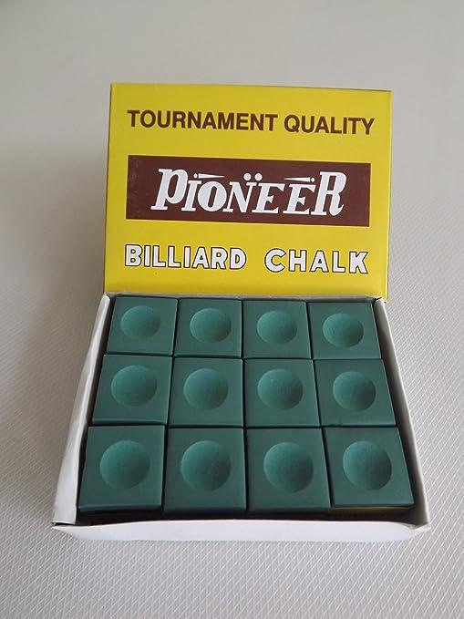 Pioneer - Juego de tizas para tacos de billar (12 unidades), color verde: Amazon.es: Deportes y aire libre