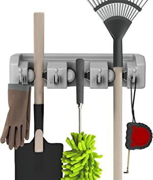 or Shed-Hang Home and Garden Tools-Space Saving Rack by Stalwart Shovel Rake and Tool Holder with Hooks- Wall Mounted Organizer for Garage Closet