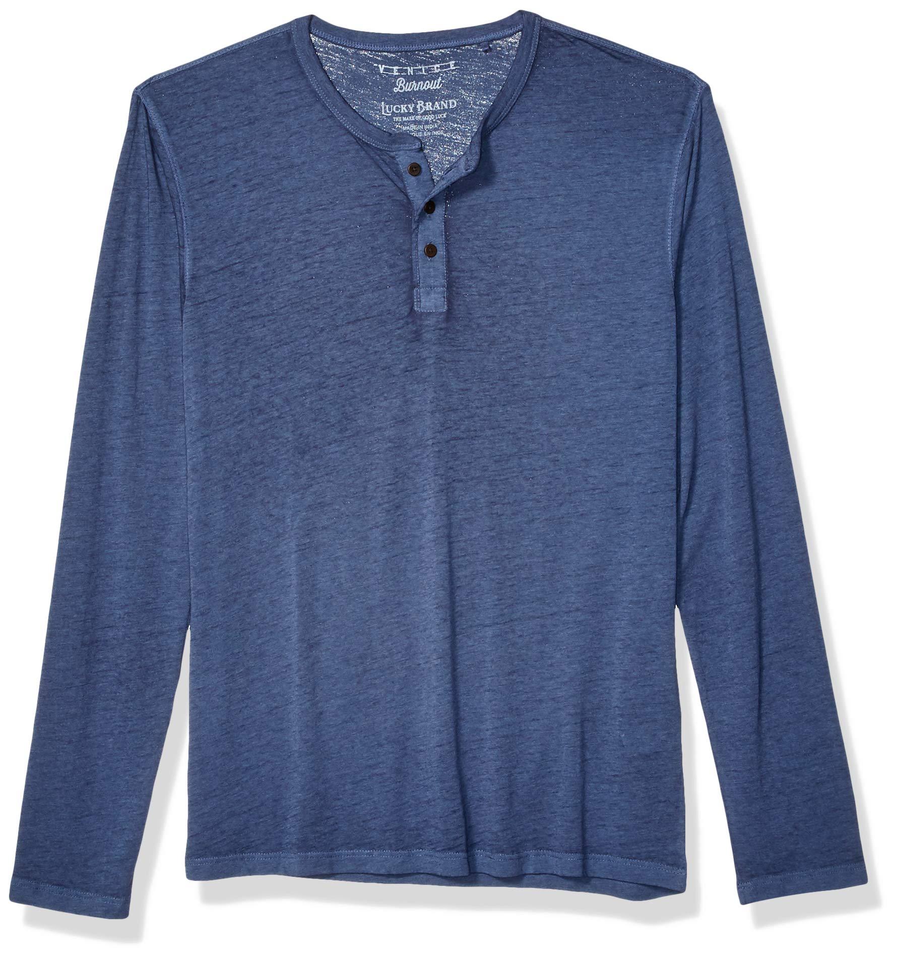 Lucky Brand Men's Venice Burnout Henley Shirt, Blue, L by Lucky Brand