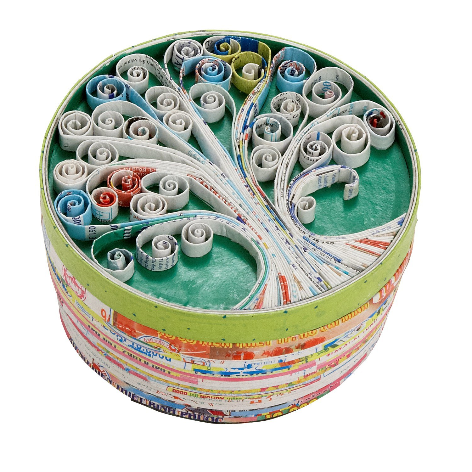 Ten Thousand Villages Round Tree Theme Recycled Material Container 'Love the Earth Box' by Ten Thousand Villages