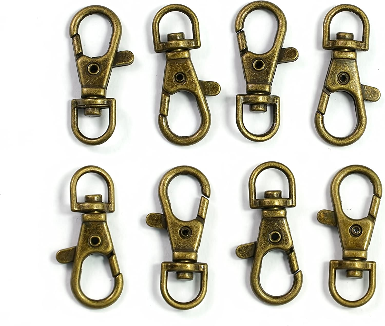 2 each Heavy Duty Lobster Trigger Claw Scissor Clasp w// Key Ring Antique COPPER