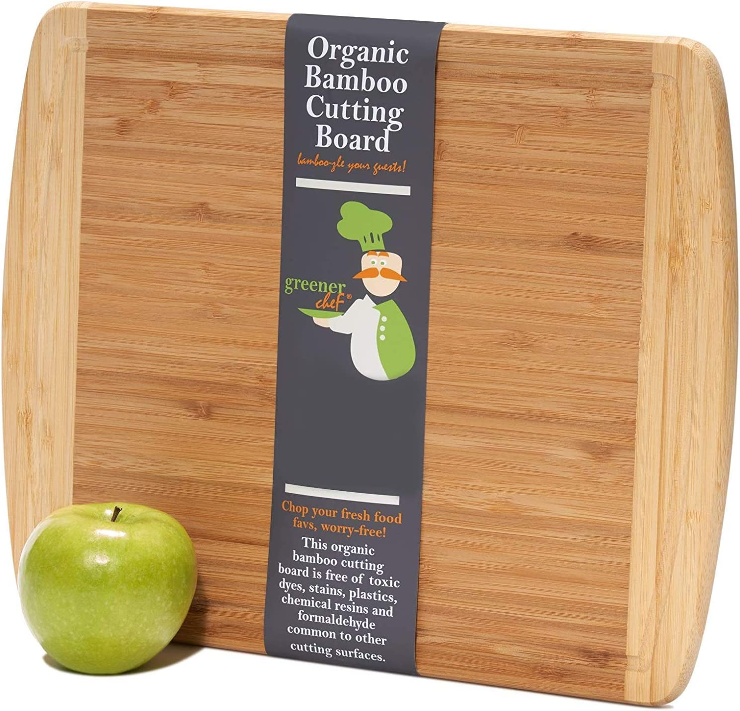 Medium-Large Wood Cutting Board : 14.5 x 11.5 Inches - Lifetime Replacement Bamboo Cutting Boards for Kitchen - Just the Right Size Wooden Chopping Board/Butcher Block