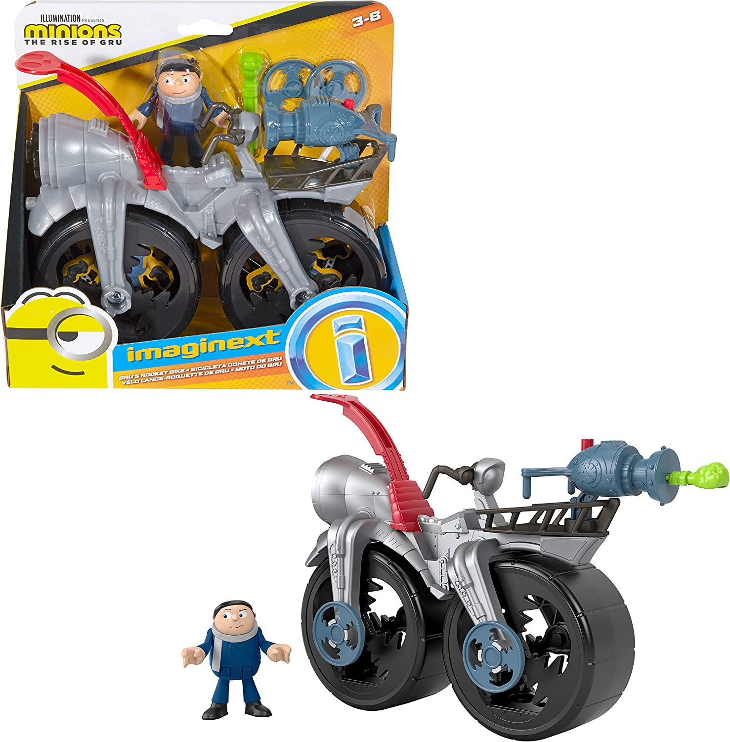 Fisher-Price Imaginext Minions Gru's Rocket Bike, character figure and push-along toy bicycle set