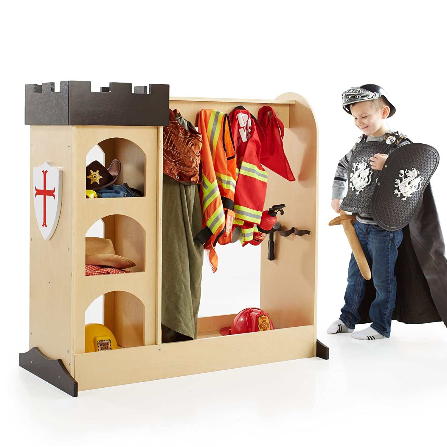 Guidecraft Castle Dramatic Play Storage: Themed Dresser with Mirror and Safe Hooks, Dress Up Armoire for Kids - Toddlers Costume Organizer, Children Playroom Furniture G99400